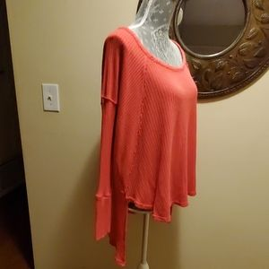 Free People  Coral Poppy Thermal Top sz M